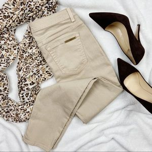 Michael Kors Khaki Skinny Ankle Jeans